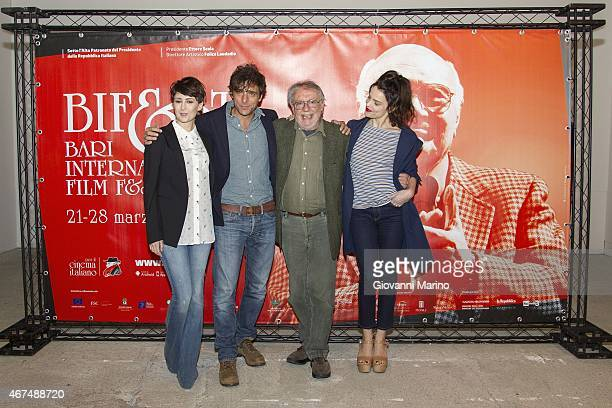 From left Giorgia Farina Adriano Giannini Felice Laudadio and Micaela Ramazzotti attend the 'Ho Ucciso Napoleone' press conference during Bifest 2015...