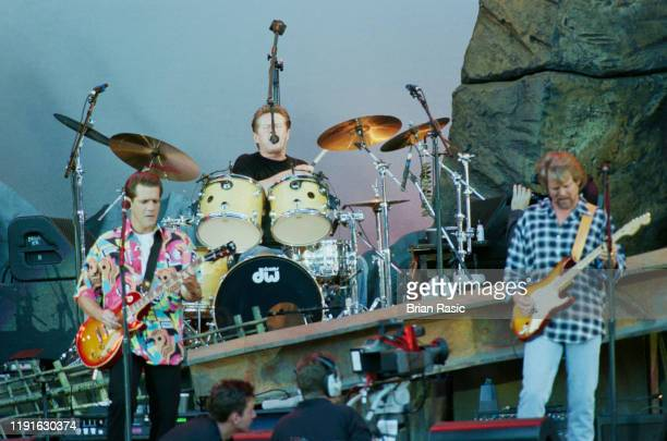From left Glenn Frey Don Henley and Don Felder of American rock group The Eagles perform live on stage at Wembley Stadium in London during the band's...