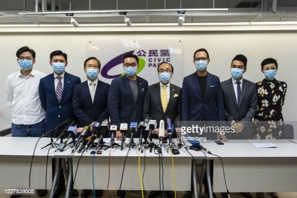 From left, Gordon Lam, Jeremy Tam, Kwok Ka-ki, Alvin Yeung, Alan Leong, Dennis Kwok, Tat Cheng, Tanya Chan, members of the Civic Party, attend a news...