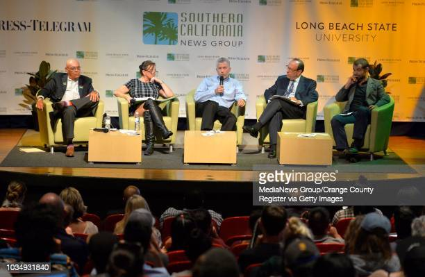 From left Greg Akili Diane Goldstein Andrew Acosta Marc Greenberg and Stefan BorstCensullo take part in a panel forum on the pros and cons of...