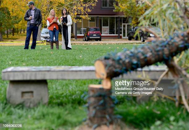 Greg Graham Kelly Graham and Carolyn Arras wait for delivery of a new willow tree to replace the memorial tree that was cut down at The Dale Kathy...