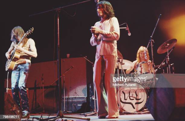 From left guitarist Steve Howe singer Jon Anderson and drummer Bill Bruford performing with English progressive rock group Yes at the Rainbow Theatre...