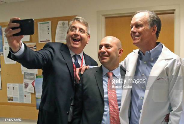 From left Harold J Burstein MD PhD Institute Physician Toni Choueiri MD Director Lank Center for Genitourinary Oncology and prize winner William G...
