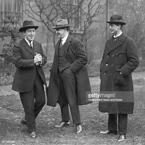 From left Harry Boland Michael Collind and Eamon De Valera at the first sitting of Dail Eireinn Circa 1919
