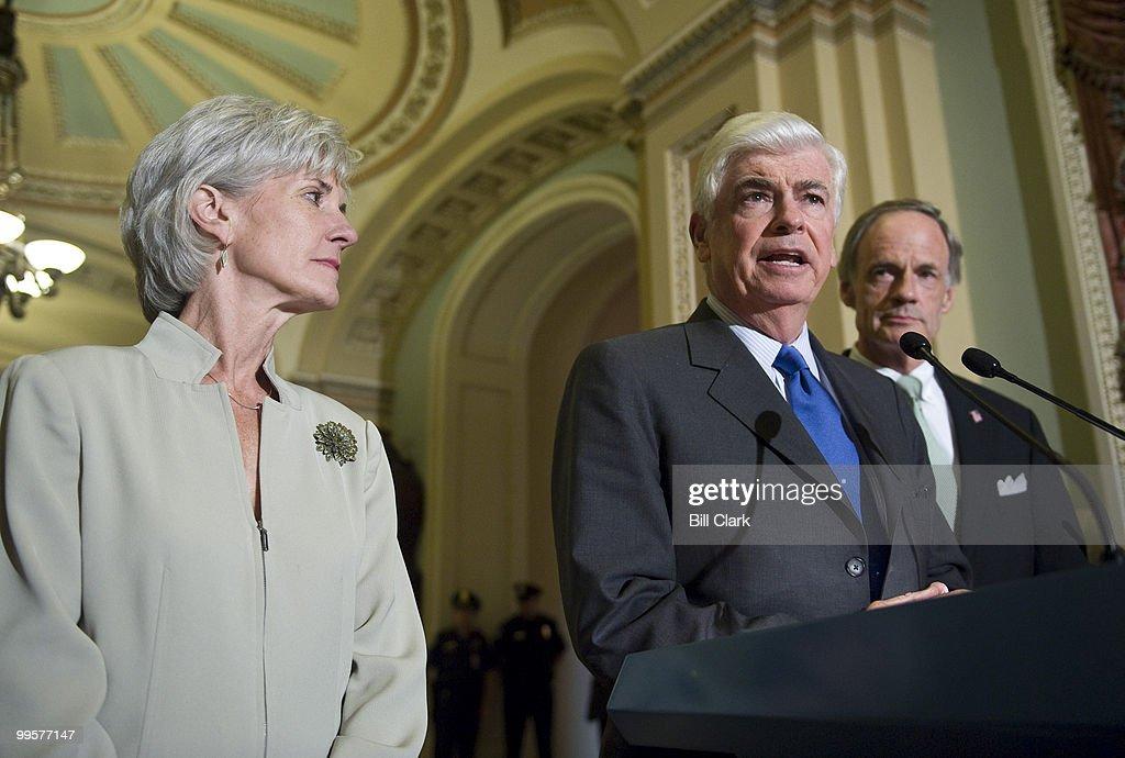From left, HHS Secretary Kathleen Sebelius, Sen. Chris Dodd, D-Conn., and Sen. Tom Carper, D-Del., hold a news conference on healthcare reform in the Ohio Clock Corridor on Thursday, July 23, 2009.