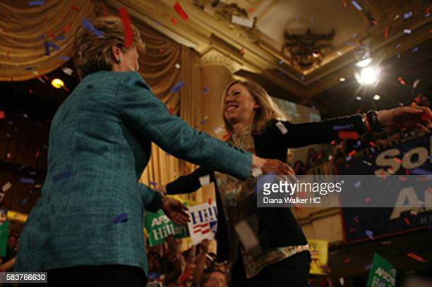 From left Hillary Rodham Clinton is about to hug her daughter Chelsea after winning the Pennsylvania primary on April 22 2008 at the Park Hyatt...