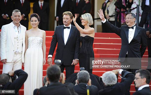 Hong Kong's actors Anthony Wong ChauSang Michele Ye French actor and singer Johnny Hallyday and his wife Laeticia and Hong Kong's director Johnnie To...
