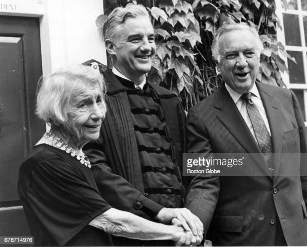 From left Honorary Degree Psychoanalyst Anna Freud Harvard President Derek Bok and Walter Cronkite during Harvard Commencement in Cambridge Mass on...