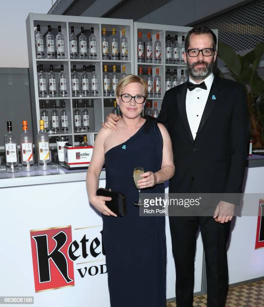 From left Honoree Patricia Arquette and Artist Eric White celebrate achievements in the LGBTQ community at the 28th Annual GLAAD Media Awards...
