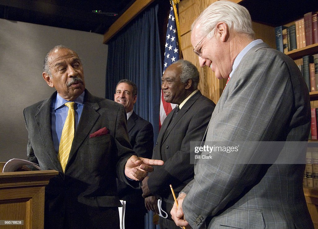 From left, House Judiciary Chairman John Conyers, Jr., D-Mich., Sen. Russell Feingold, D-Wisc., Rep. Danny Davis, D-Ill., and Rep. Christopher Shays, R-Conn., participate in the news conference to introduce the 'End Racial Profiling Act of 2007,' on Thursday, Dec. 13, 2007.