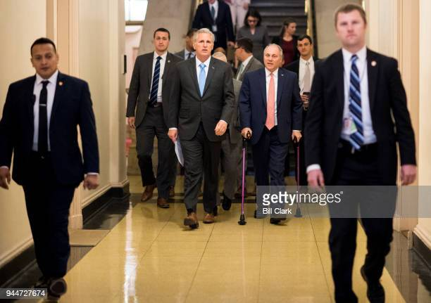 From left House Majority Leader Kevin McCarthy RCalif and House Majority Whip Steve Scalise RLa arrive for the House Republican Conference meeting in...