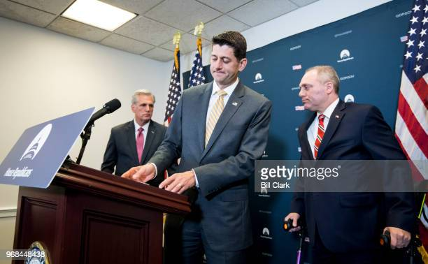 From left House Majority Leader Kevin McCarthy RCalifSpeaker of the House Paul Ryan RWisc and House Majority Whip Steve Scalise RLa participate in...