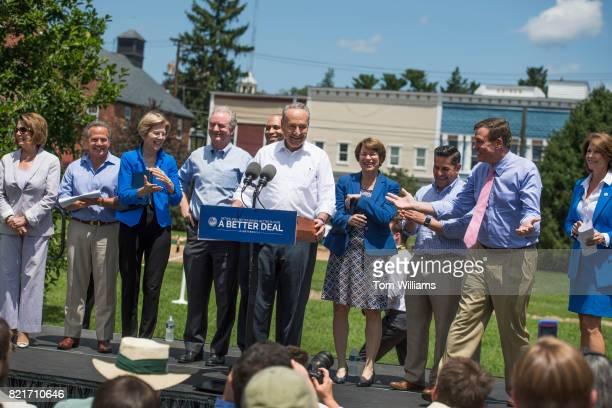From left House Minority Leader Nancy Pelosi DCalif Rep David Cicilline DRI Sens Elizabeth Warren DMass Chris Van Hollen DMd Rep Hakeem Jeffries DNY...