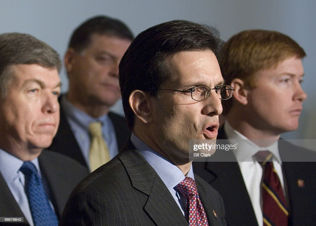 From left, House Minority Whip Roy Blunt, R-Mo., Rep. Tom Cole, R-Okla., Rep. Eric Cantor, R-Va., and House Republican Conference Chairman Adam Putnam, R-Fla., speak to the media following the House Republican Conference meeting in the Canon caucus room on Friday, March 9, 2007.