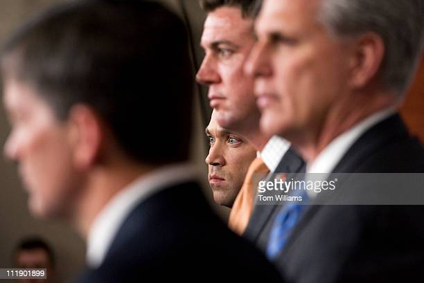 From left House Republican Conference Chairman Jeb Hensarling RTexas Reps Michael Grimm RNY Duncan Hunter RCalif and House Majority Whip Kevin...