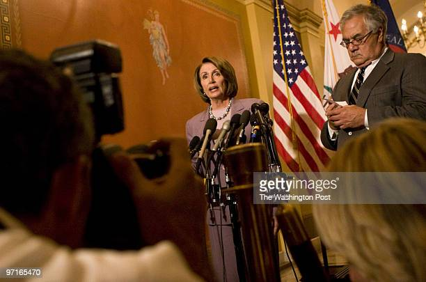 From left House Speaker Nancy Pelosi and House Financial Services Committee Chairman Barney Frank speak during a press conference about legislation...