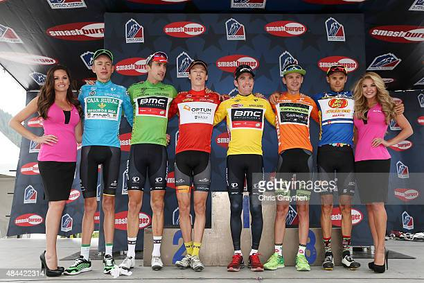 From left Hugh Carthy of Great Britain riding for Caja RuralSeguros RGA in the best young rider jersey Taylor Phinney of United States riding for BMC...
