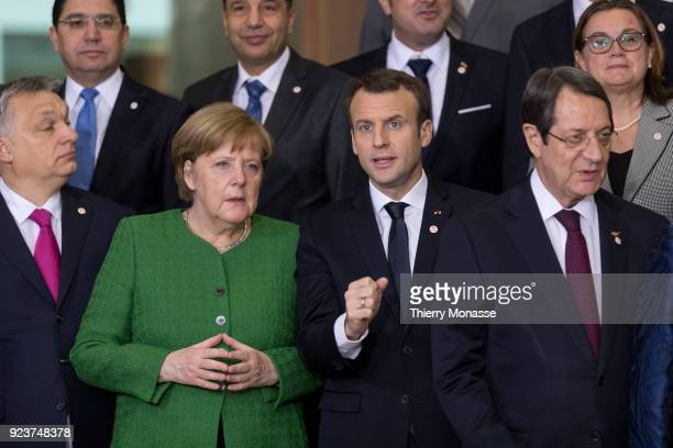 From Left Hungarian Prime Minister Viktor Mihaly Orban German Chancellor Angela Merkel French President Emmanuel Macron and the Cyprus President...