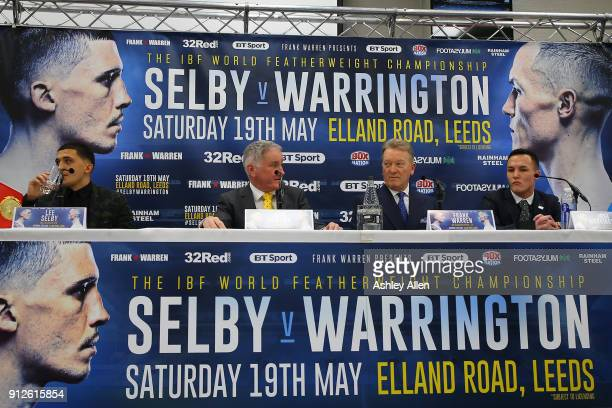 IBF World Featherweight Champion Lee Selby John Rawling Frank Warren and challenger Josh Warrington during the press conference in the Norman Hunter...
