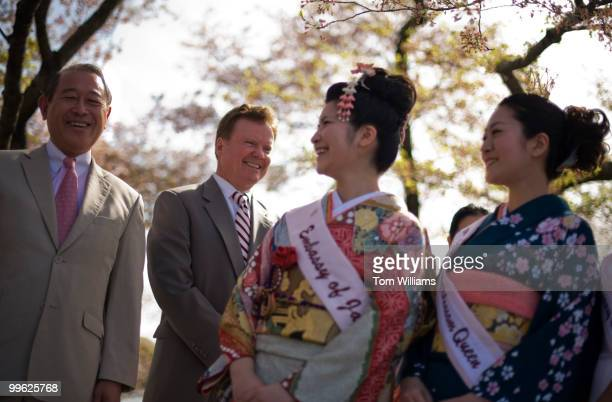 From left Ichiro Fujisaki left Japan's Ambassador to the United States Sen Jim Webb DVa 2010 Japan Cherry Blossom Princess Miho Odagiri and 2010...