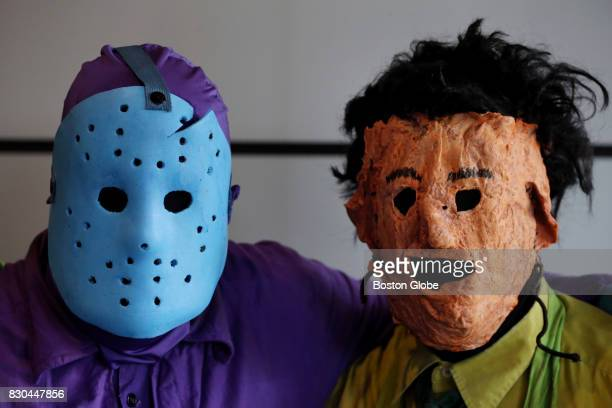 From left Identical twin brothers Brian and Conner White of Billerica dressed as game character versions of Jason Voorhees and Leatherface during...