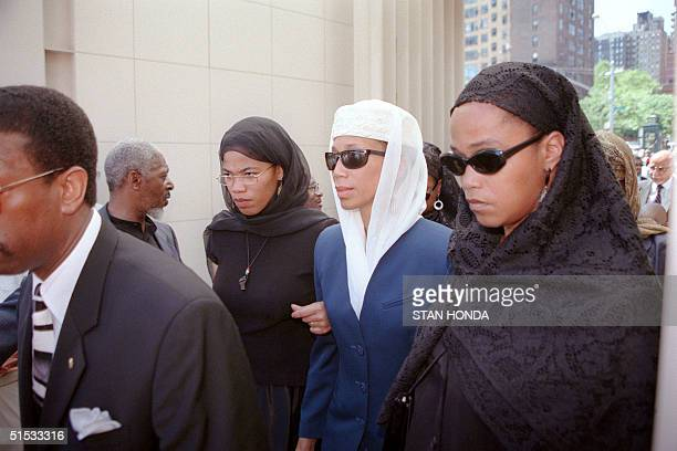 From left Illya Attallal and Gamilah three of the daughters of Betty Shabazz enter the Islamic Cultural Center in New York for private funeral...