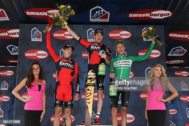 From left, in second place Rohan Dennis of Australia riding for BMC Racing stage winner Brent Bookwalter of United States riding for BMC Racing and...