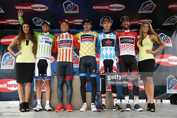 From left in the green points jersey Kiel Reijnen of the United States riding for UnitedHealthcare Pro Cycling Robin Carpenter of the United States...