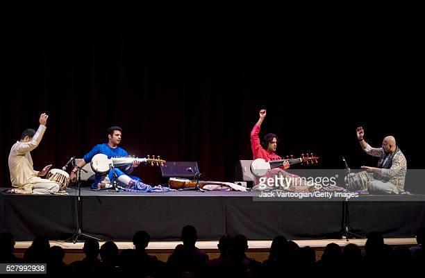 From left Indian musicians Vineet Viyas on tabla brothers Amaan Ali Bangash and Ayaan Ali Bangash on sarod and Anubruta Chatterjee on tabla as they...