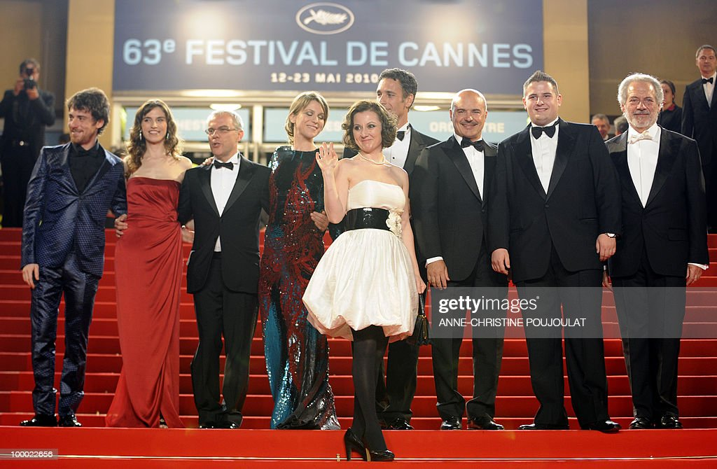 Italian actor Elio Germano, Italian actress Stefania Montorsi, Italian director Daniele Luchetti, Italian actress Isabella Ragonese, Italian actress Alina Berzenteanu, Italian actor Raoul Bova, Italian actor Luca Zingaretti, Italian actor Marius Ignat and Italian actor Giorgio Colangeli arrive for the screening of 'La Nostra Vita' (Our Life) presented in competition at the 63rd Cannes Film Festival on May 20, 2010 in Cannes.