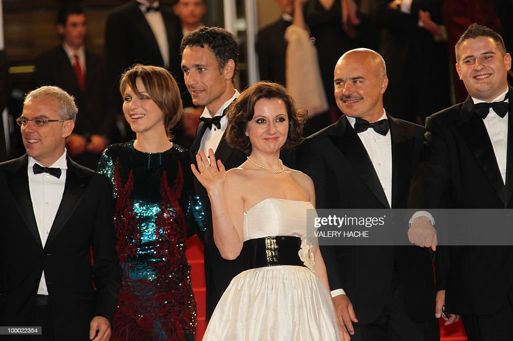 Italian director Daniele Luchetti, Italian actress Isabella Ragonese, Italian actor Raoul Bova, Italian actress Alina Berzenteanu, Italian actor Luca Zingaretti and Italian actor Marius Ignat arrive for the screening of 'La Nostra Vita' (Our Life) presented in competition at the 63rd Cannes Film Festival on May 20, 2010 in Cannes.