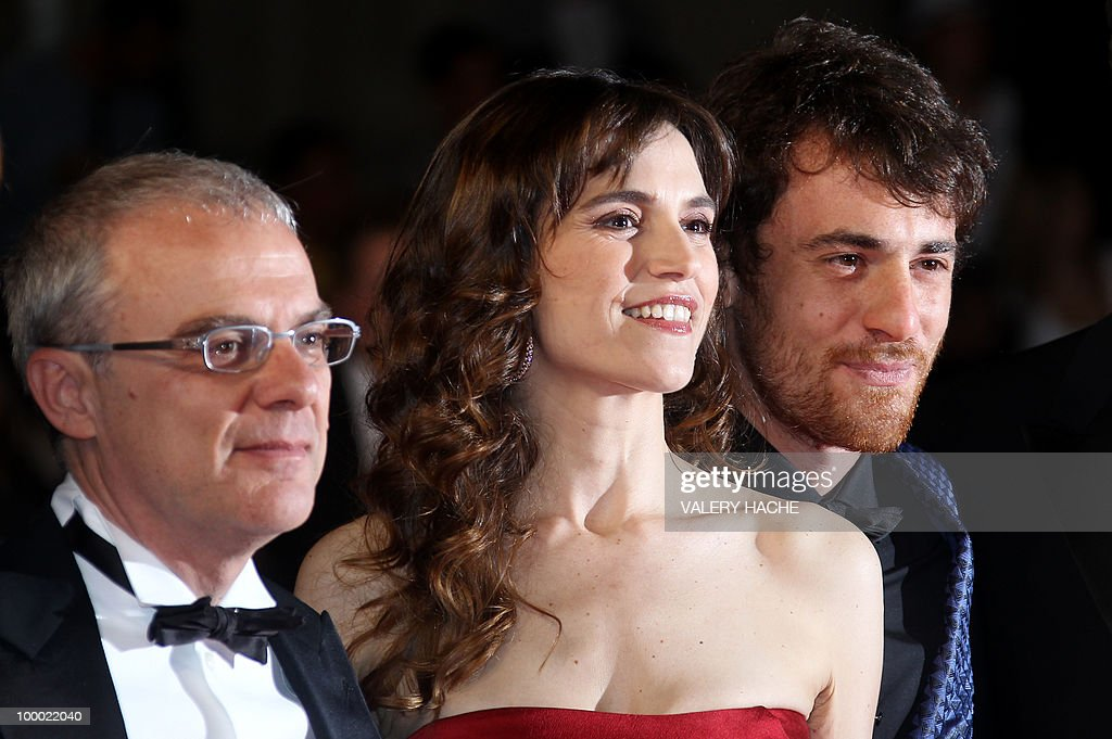 Italian director Daniele Luchetti, Italian actress Stefania Montorsi and Italian actor Elio Germano arrive for the screening of 'La Nostra Vita' (Our Life) presented in competition at the 63rd Cannes Film Festival on May 20, 2010 in Cannes.