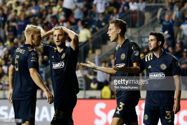 From left - Jakob Glesnes, Kacper Przybyłko, Jack Elliott and Leon Flach of Philadelphia Union react to a call during the semifinal second leg match...