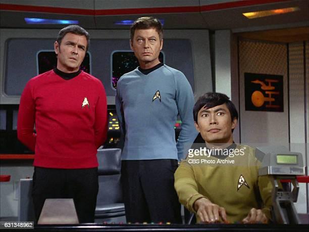 From left: James Doohan as Chief Engineer Montgomery 'Scotty' Scott, DeForest Kelley as Dr. Leonard H. McCoy and George Takei as Lieutenant Hikaru...
