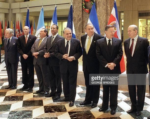 From left James Wolfensohn president of the World Bank Luis Alberto Flores Vice President of Guatemala Arnoldo Aleman Lacayo president of Nicaragua...