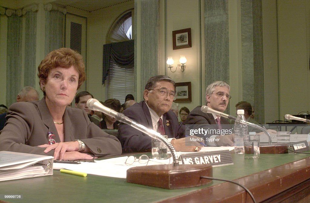 From left, Jane Garvey, Administrator, FAA, Transportation Secretary Norman Mineta and Deputy Secretary of Transportation Michael Jackson, testify before a full Senate Transportation Committee on Thursday