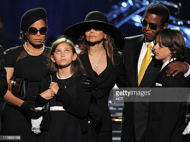 From left Janet Jackson Paris Michael Katherine LaToya Jackson Jermaine Jackson and Prince Michael Jackson I attend a memorial service for music...