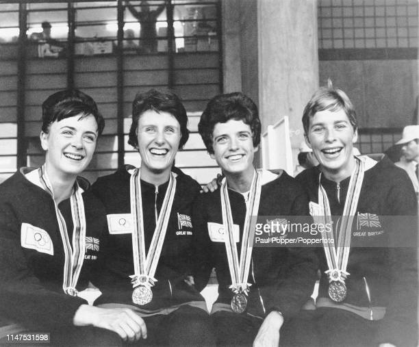 From left Janet Simpson Dorothy Hyman Daphne Arden and Mary Rand pictured together with their bronze medals after finishing in third place for Great...