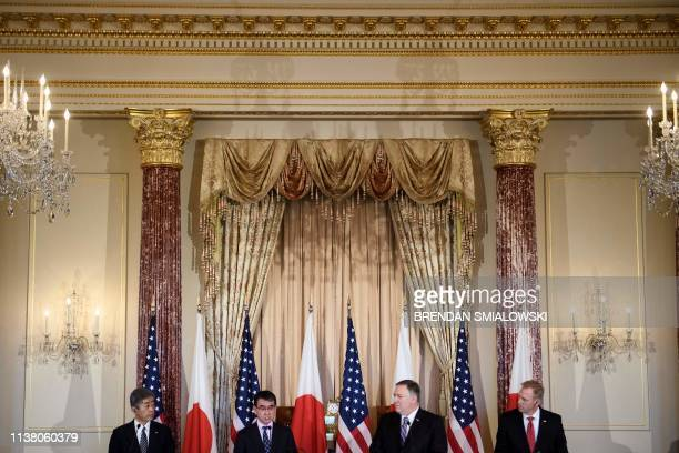 From left Japan's Defense Minister Takeshi Iwaya Japan's Foreign Minister Taro Kono US Secretary of State Mike Pompeo and acting US Secretary of...