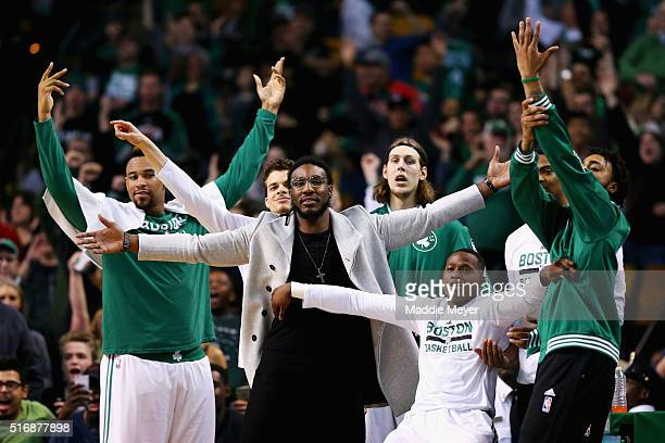 From left Jared Sullinger of the Boston Celtics RJ Hunter Jae Crowder Kelly Olynyk and Terry Rozier react after Isaiah Thomas scored against the...