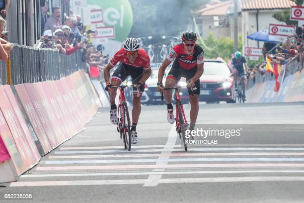 From left Jasper Stuyven and Silvan Dillier arrive in sprint and complete the sixth stage of the Giro d'Italia Tour of Italy cycling race from Reggio...