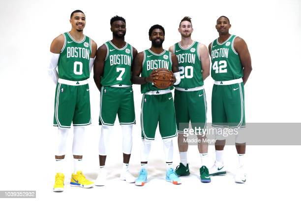 From left Jayson Tatum Jaylen Brown Kyrie Irving Gordon Hayward and Al Horford pose together for a photo during Boston Celtics Media Day on September...