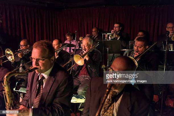 From left Jazz musicians Douglas Purviance Jason Jackson bandleader John Mosca and Luis Bonilla play trombones as they perform with the Vanguard Jazz...