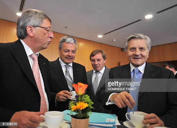 Jean-Claude Juncker of Luxembourg, who chairs the Eurogroup of eurozone finance ministers, Belgian Finance Minister Didier Reynders, Luxembourg...