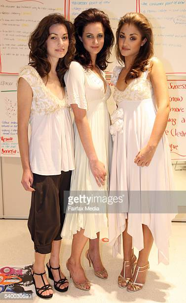 From left Jess Rohde Sage Greenwood and Jaimee Gooley at the L'Oreal Academy launch in South Melbourne 6th April 2006 THE SUNDAY AGE EXPOSE Picture...