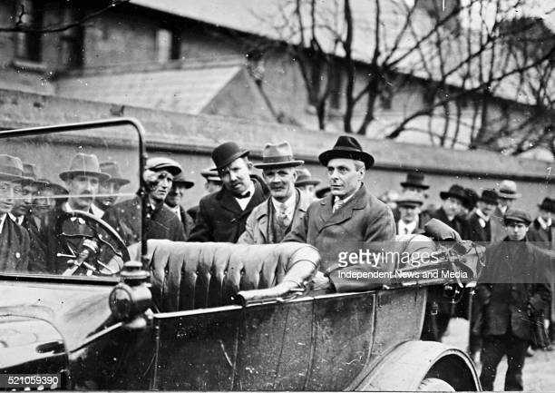From Left JH Thomas Senator T Farren and Thomas Johnson labour leaders invetigating a hunger strike Circa 1919