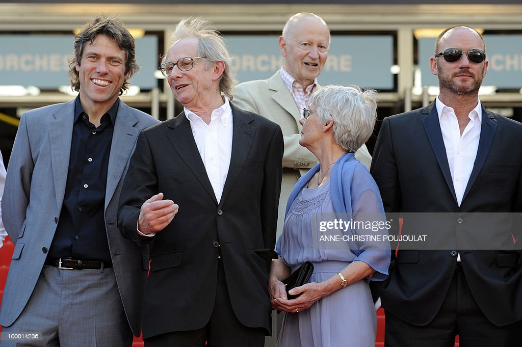 John Bishop, British director Ken Loach and his wife Lesley Ashton, British actor Mark Womack arrive for the screening of 'Route Irish' presented in competition at the 63rd Cannes Film Festival on May 20, 2010 in Cannes.