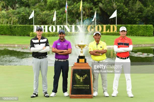 From left : John Catlin of USA, Shiv Kapur of India, Thongchai Jaidee of Thailand and Phachara Khongwatmai of Thailand pictured during photocall...