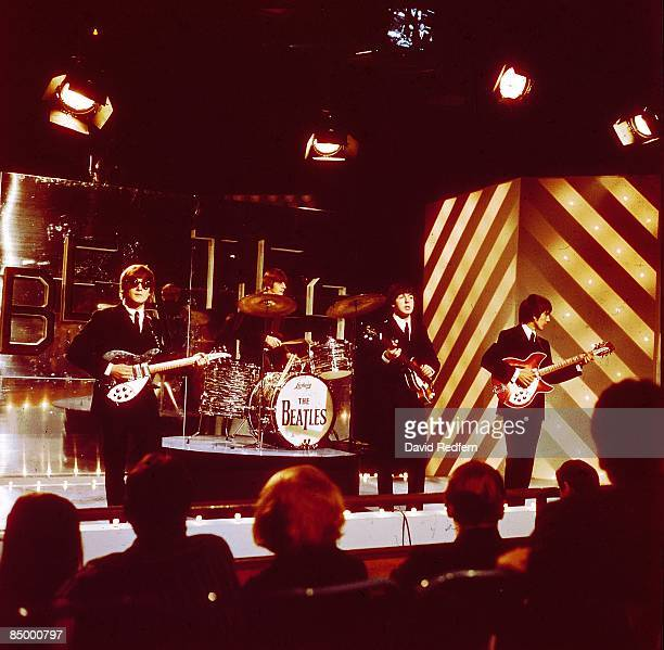 STARS Photo of BEATLES John Lennon Ringo Starr Paul McCartney and George Harrison performing at Teddington Studios