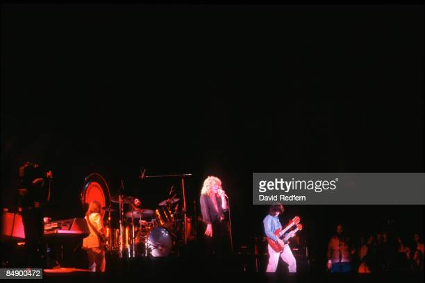 From left, John Paul Jones, John Bonham, Robert Plant and Jimmy Page of English rock group Led Zeppelin perform live on stage during the first of two...